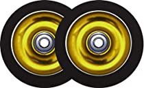 Metal Core Scooter Wheels 110mm GOLD/BLACK Heavy Duty x2 WITH BEARINGS!