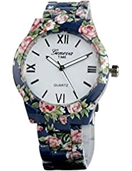 Zillion Presents Geneva Blue Ceramic Floral Print Analog Watch For Women