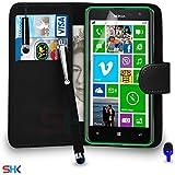 Nokia Lumia 625 Premium Leather Wallet noir flip écran Housse Pouch + Mini Stylus Pen + Big tactile Stylet + Protecteur & Chiffon PAR SHUKAN®, (Noir)