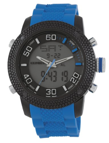 Cepheus Men's Quartz Watch with Grey Dial Analogue - Digital Display and Blue Silicone Strap CP903-623