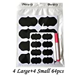 64 Premium Chalkboard Labels Stickers Set by Beeasy with 2 Liquid Chalks White & Pink Marker Pen Reusable The Best Large and Small Kitchen Labels Tag Decorate Your Office Pantry Storage Blackboard