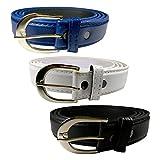 Mount Textured Ladies Belts Combo (Blue, White, Black)