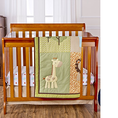 Dream On Me Reversible Portable Crib Set, Safari Animals