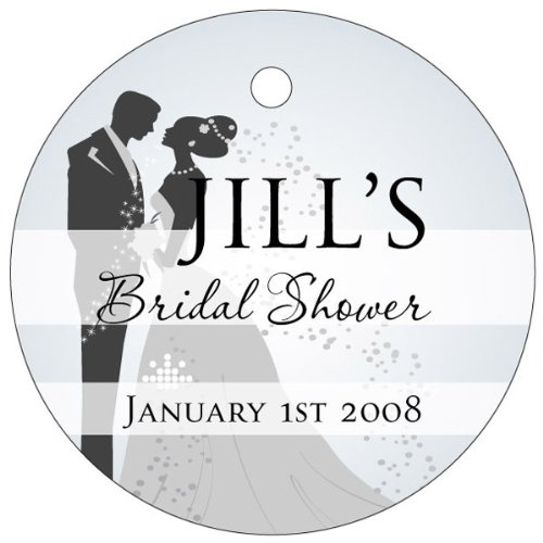 Wedding Favors Bride and Groom Design -White Circle Shaped Personalized Thank You Tags – Set of 20