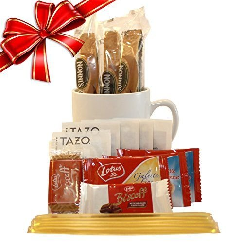 Tazo Tea Gift Set Featuring: Large Bistro Style Mug, Nonni's Biscotti, Biscoff Cookies, & Original Honey Stix (Chocolate And Tea Gift Basket compare prices)