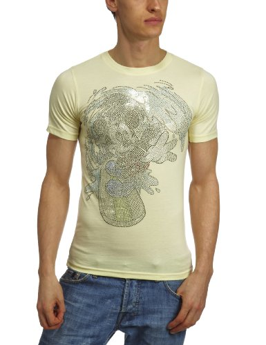 Disney Couture DCM1449 Printed Mens T-Shirt Yellow Medium