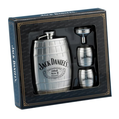 Jack Daniels Barrel Flask/Gift Set (Jack Daniels Barrel Flask compare prices)