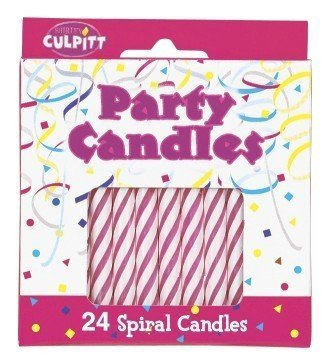 Pakage of 24 ~ Culpitt Pink Spiral ~ Candles - 1
