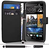 HTC Desire 310 - Black Premium Leather Wallet Flip Case Cover Pouch + Screen Protector With Microfibre Polishing Cloth + Touch Screen Stylus Pen By CCUK
