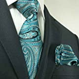 Landisun 40L Teal Blues Paisleys Mens Silk Tie Set: Tie+Hanky &Plastic Hook