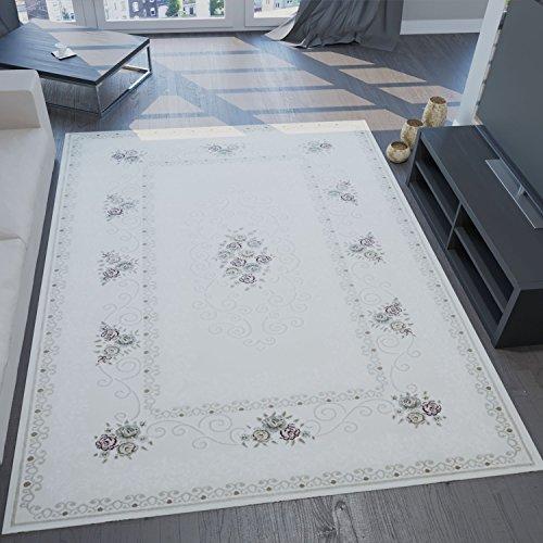 Designer Elegante Tappeto Crema Chiaro Con Fiori Decorazioni E alta- profondità Strutture - VIMODA - Avorio, 160x230 cm