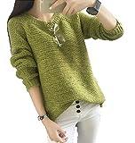 バイシン(BAISHUN)レディース 長袖 ゆったり ニット セーター カジュアル ファッション ラウンドネック ロング セーター(グリーン)