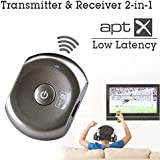 Avantree Saturn Pro Bluetooth wireless transmitter and receiver 2-in-1 with aptX Low Latency technology for wireless watch TV / Movies. The Bluetooth audio transmitter also provide good sound quality
