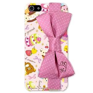 リラックマ リボン付 iPhone5ケース ピンク/ハードタイプ