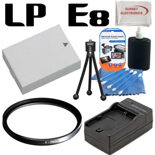 Canon LP-E8 - LPE8 - Replacement - Lithium Ion - High Capacity Battery Pack - For the Canon EOS Rebel T2i / Kiss X4 / 550D, T3i / Kiss X5 / 600D T4i 650D Digital SLR Cameras; with Rapid Travel Charger, Multicoated Protective UV Haze Filter & more....
