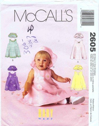 Mccall'S 2605 Sewing Pattern Infants Dress Hat Panties Small - Extra Large front-884671