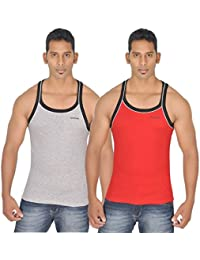 SCHOLAR MEN'S GREY MELANGE & RED GYM VEST
