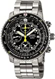 Seiko Flight Chronograph Steel Black Mens Watch SNA411