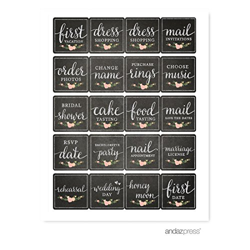 Andaz Press 1st Year Wedding Planner Labels Stickers, Vintage Chalkboard Floral, Square 40-Pack, For Day Planners, Journals, Scrapbook, Keepsake, Engagement Gift