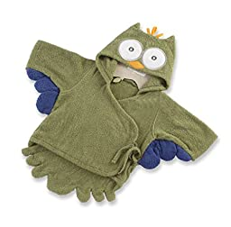 Baby Children Cotton Cartoon Animal Cute Love Bath Robe Owl Green 1-12 months