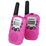 Retevis RT-388 462.5625-467.7250MHz Portable Kids Walkie Talkie 22 Channel FRS/GMRS 0.5W LCD Display Flashlight VOX Toy Two-Way Radio For Children 2 Pack Pink Best Present!!!