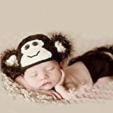 Photography Photo Prop Crochet knit Universal Costume Baby Outfits Set For Newborn Boys and Girls Animal Pattern Flower Pattern Coffee Monkey