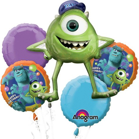 Monsters University Birthday Balloon Bouquet (5 Total Balloons)