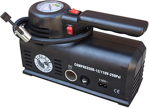 P.I. Auto Store Tire Inflator - YS-205.2 - Dual Electric Power 12V DC (car) 110V/120V AC (mains). Portable Air Compressor Pump with storage bag.