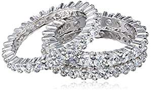 Three Sterling Silver and Cubic Zirconia Stacking All-Around Bands, Size 5