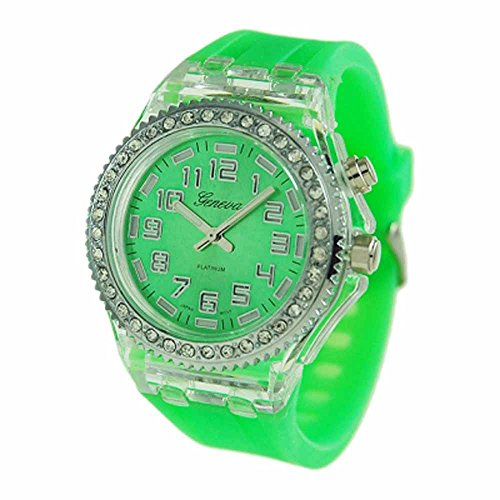 Geneva Platinum Silicone Rubber Cz Light Up Watch Lime Green
