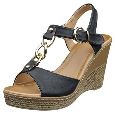 Amazon.com: Womens Platform Sandals Gold Tone Chain Link T