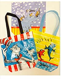 Dr. Seuss Mini Shopper Tote Set. 3 Different Designs Celebrate The Cat in the Hat, One Fish Two Fish, and Horton Hears a Who. Great for Back to School Teacher Supplies List. Kindergarten, Pre-School, and Elementary Teachers Take Note!