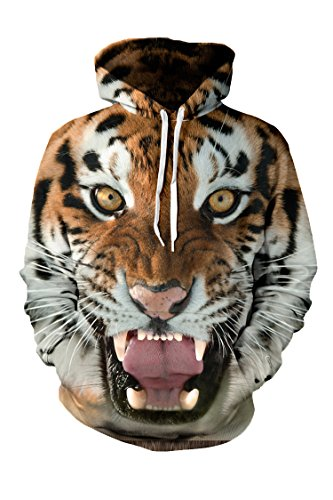 Pink Queen Tiger Printed Big Pockets Pullover Hoodie Sweatshirt(L)