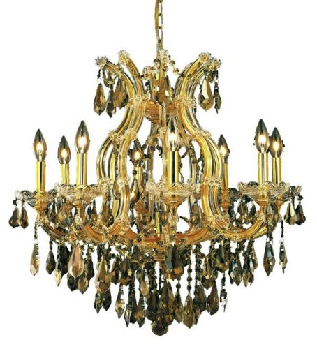 Elegant Lighting 2801D26G-Gt/Rc Maria Theresa 26-Inch High 9-Light Chandelier, Gold Finish With Golden Teak (Smoky) Royal Cut Rc Crystal front-686245