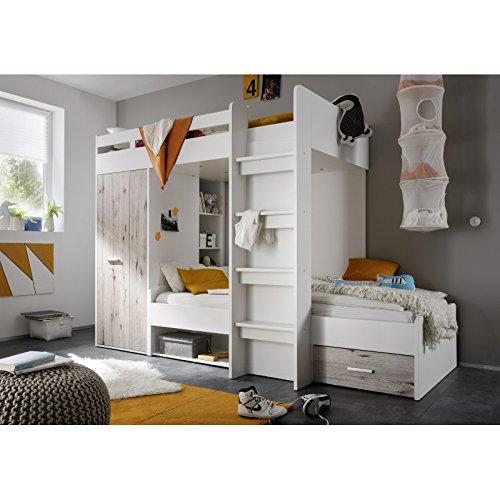 avanti trendstore hochbett wei sandeiche dekor. Black Bedroom Furniture Sets. Home Design Ideas