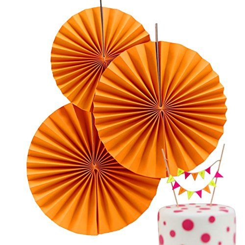 Ginger Ray Neon Birthday Fan Pinwheel Decorations for Wedding or Party (3 Pack), Orange