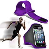 Purple iPhone 5-5s-5c Running Armband Case Cover Holder for Cycling, Jogging, Fitness Training, Boot Camp, Exercise, Sports, Outdoor Activities, Gym Cases Covers and Accessories for New Apple iPhone 5-5s-5c by iChoose®
