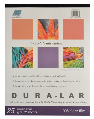 Grafix Clear .005 Dura-Lar Film, 9-Inch by 12-Inch, 25 Sheets (Mylar Sheets compare prices)
