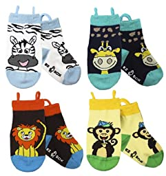 Ez Sox Kids Animal Socks (medium, Monkey-Lion-Zebra-Giraffe)