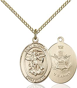 Gold Filled Saint St St. Michael / Army Soldier Gift Medal Pendant 3/4 x 1/2 Inches Police Law Officers/EMTs-8076- Comes with a Gold Filled Lite Curb Chain Neckace And a Black velvet Box