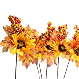 Set of 6 Rustic Autumn Sunflowers with Fall Leaves and Berries Stems