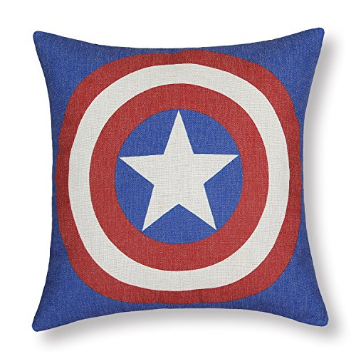 "Euphoria Home Decorative Cushion Covers Pillows Shell Cotton Linen Blend Superheroes Logo Captain America 18"" X 18"" front-766219"