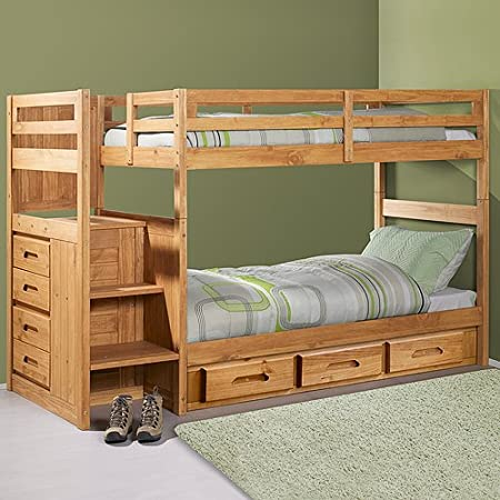 Twin Twin Ranch Staircase Bunk with 3 Drawers