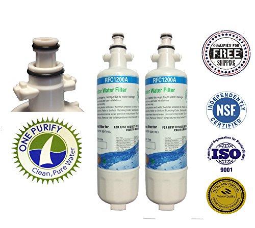 2 Pack - Onepurify Water Filter To Replace Panasonic, Lg, Lg Premium, Kenmore, Kenmoreclear!, Sears, Adq36006101, Adq36006101-S, Adq36006101S, Adq36006102, Adq36006102-S, Adq36006102S, 46-9690, 09690, 9690, 469690, 4609690000, 048231783705, Lt700P, Lt-700 front-428287