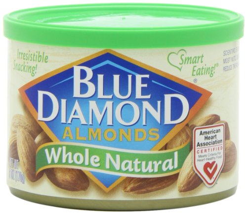 Blue Diamond Almonds Whole Natural, 6-Ounce Tins (Pack Of 12)