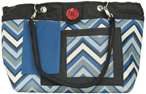 2 Red Hens Rooster Diaper Bag, Blue Chevron