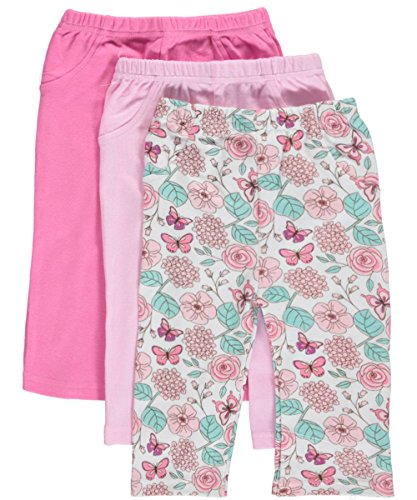 "Luvable Friends Baby Girls' ""Spring Variety"" 3-Pack Pants - pink, 6 - 9 months"