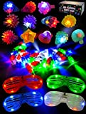 Joyin Toy 60 Pieces LED Light Up Toy Party Favor Party Pack for Stocking Stuffers-44 LED Finger Lights, 12 LED Flashing Bumpy Rings and 4 Flashing Slotted Shades Glasses
