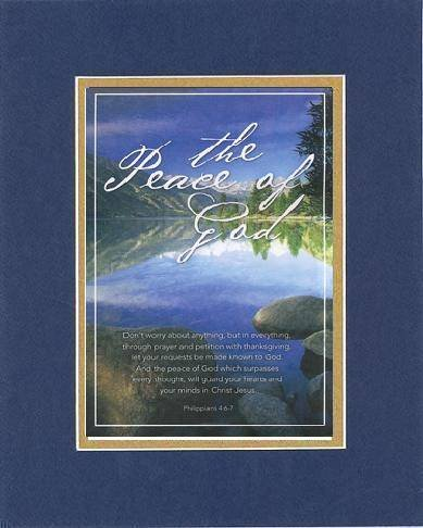 The Peace Of God - Philippians 4:6-7. . . 8 X 10 Inches Biblical/Religious Verses Set In Double Beveled Matting (Blue On Gold) - A Timeless And Priceless Poetry Keepsake Collection