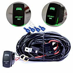 See mictuning HD 300w LED Light Bar Wiring Harness 40 Amp Relay ON-OFF Laser Rocker Switch Green(1Lead 14ft 14AWG) Details